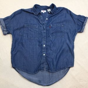 Levi's denim cuffed sleeve button up top